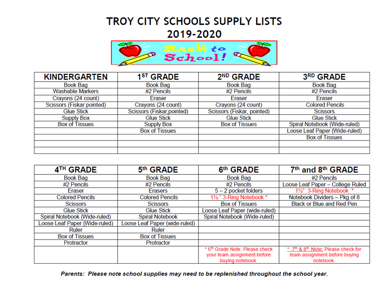 The List 2020.School Supply List For The 2019 2020 School Year Troy